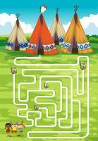 Modèle de jeu avec tipi et indiens vecteur
