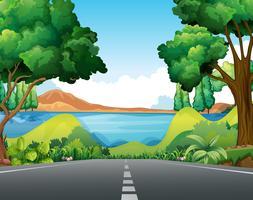 Scène avec route vers le lac