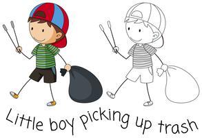 Doodle garçon ramasser les ordures vecteur
