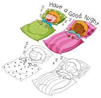 Doodle garçon et fille endormie vecteur