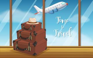 Bagages vintage au fond de l'aéroport vecteur