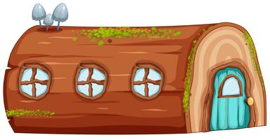 Une maison en rondins sur fond blanc vecteur