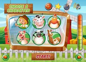 Modèle de jeu avec le thème de la ferme vecteur