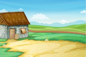Paysage rural avec grange vecteur