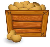 Pomme de terre sur planche de bois vecteur