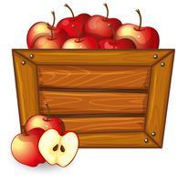 Pomme rouge sur cadre en bois vecteur