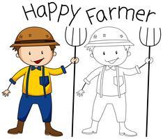 Doodle graphique de l'agriculteur vecteur