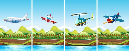 Quatre scènes d'avions volant vecteur
