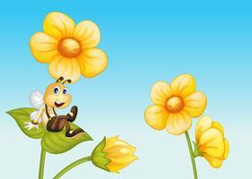 Abeille sur une fleur vecteur