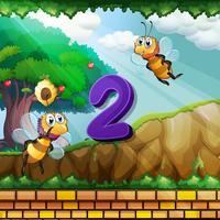 Numéro deux avec 2 abeilles qui volent dans le jardin vecteur