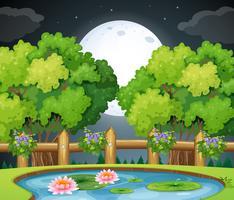 Scène d'étang la nuit vecteur