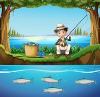 Homme pêchant dans la rivière vecteur