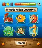 Modèle de jeu avec des animaux marins vecteur