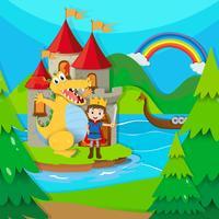 Prince et dragon au pays des fées vecteur