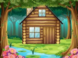 Cabane en bois dans la forêt vecteur