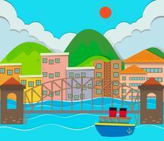 Vue sur la ville avec bâtiments et pont vecteur