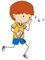 Un doodle boy listant de la musique vecteur