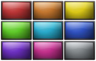 Boutons carrés en neuf couleurs vecteur