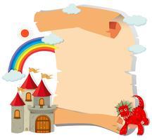 Papier avec dragon et château vecteur