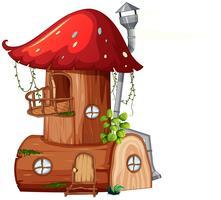 Une maison en bois aux champignons vecteur