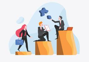 Personnel de bureau atteignant les objectifs de la société Vector Illustration plate