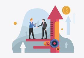 Homme d'affaires réunis pour illustration vectorielle d'objectifs d'entreprise vecteur