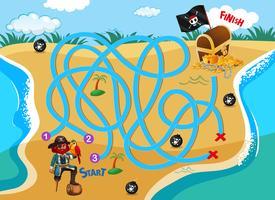 Pirate beach labyrinthe jeu de puzzle vecteur