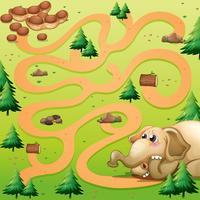 Modèle de jeu avec éléphant et cacahuète vecteur