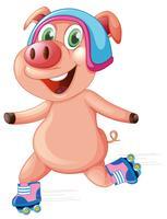 Cochon heureux jouant au roller