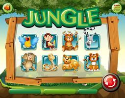 Modèle de jeu avec des animaux sauvages dans la jungle vecteur