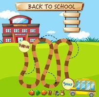 Bus scolaire sur le chemin de l'école vecteur