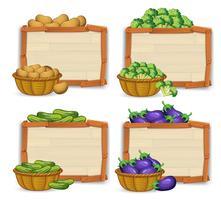 Ensemble de bannière en bois et de légumes vecteur
