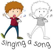 Doodle chantant une chanson vecteur