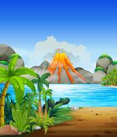 Éruption du volcan derrière le lac