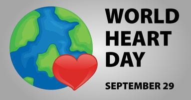 Conception d'affiche de la journée mondiale du coeur vecteur
