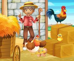 Agriculteur et poulets dans l'étable vecteur