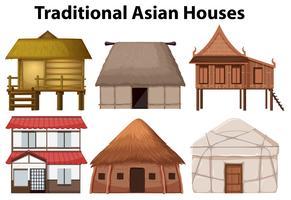 Ensemble de maison traditionnelle vecteur
