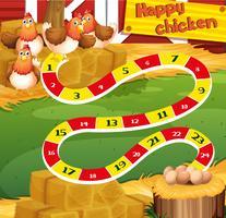 Modèle de jeu avec du poulet à la ferme