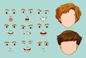 Personnages sans visage et différentes émotions vecteur