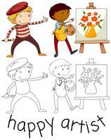Doodle personnage d'artiste heureux