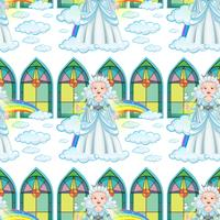 Reine sans couture sur les nuages et l'arc-en-ciel