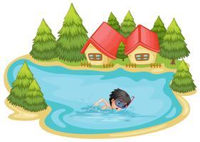 Un garçon nageant dans la piscine entourée de pins
