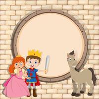 Bordure design avec prince et princesse vecteur