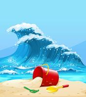 Scène avec grosse vague et plage vecteur