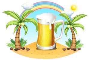 Une chope de bière géante près des cocotiers