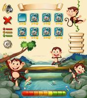 Modèle de jeu avec des singes au bord de la rivière