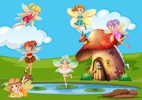 De nombreuses fées survolant l'étang vecteur