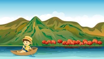 Une rivière et un garçon souriant dans un bateau vecteur