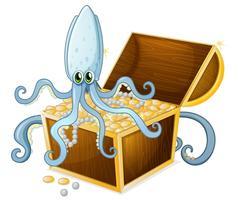 Une pieuvre au-dessus du coffre au trésor vecteur