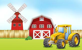 Tracteur dans la cour de ferme vecteur